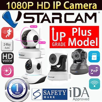 VStarcamAuthentic Vstarcam Wireless IP Camera Plus Models HD-FHD Night  Vision Pan/Tilt CCTV Home Security