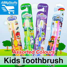 【Kodomo】Kids Toothbrush ● Soft Bristles/Regular/Zig-Zag ● Dodo/Curvy● Assorted Colours