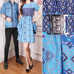 Couple Dress Midi Batik Tenert dan Kemeja Batik Pria