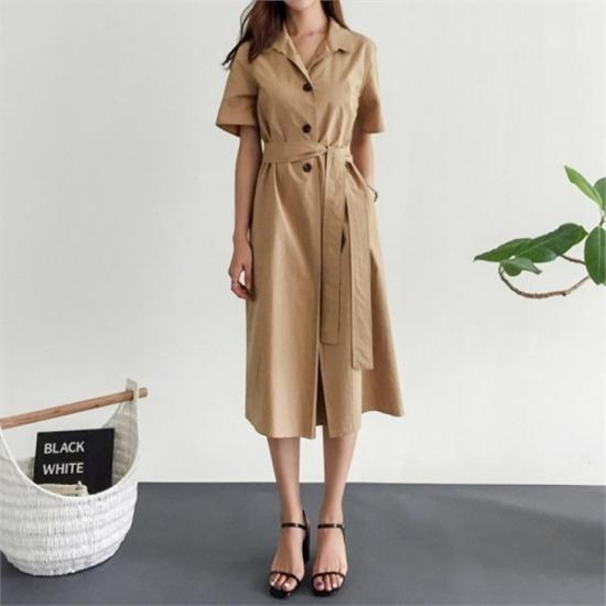 るみさん行き来するようにるみさんるみさんカラボタンツーウエー・ワンピース プリントのワンピース/ 韓国ファッション