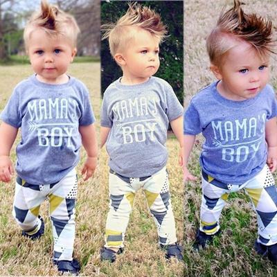 8fb47f804c38 2Pcs Newborn Infant Kids Baby Boy Summer Clothes T-shirt Tops+Pants Outfits  Set