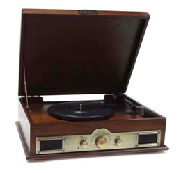 Pyle PTT30WD Bluetooth Vintage Classic Style Turntable Wireless Music Streaming, AM/FM Radio, USB Re