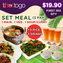 U.P $53++  [ThaiToGo] 3 to 4 PAX SET: 1 Main + 1 Veg + 1 Soup + 3 Rice + 3 Thai Ice Milk Tea