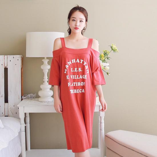 ジェイ・スタイルビックサイズソンセッオフショルダー・ロングワンピース 綿ワンピース/ 韓国ファッション