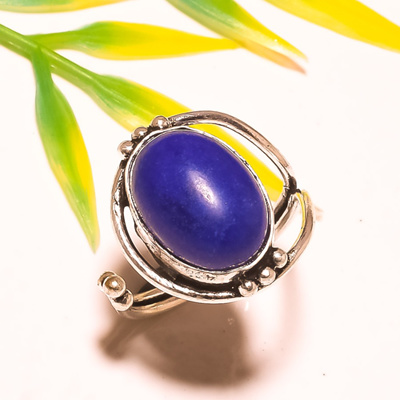 Beautiful Blue Dyed Sapphire Sterling Silver Overlay 7 Grams Ring Size 7.5 US Sizable