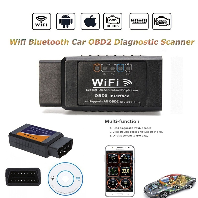 Mini Portable ELM327 Wifi Bluetooth Auto Car Fault OBD2 Diagnostic Tool  Scanner Code Reader for IPho