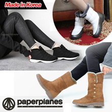 ★17F/W NEW ARRIVALS~! ★Made in Korea★ PaperPlanesWomens Warm Suede Winter Fur Snow Boots