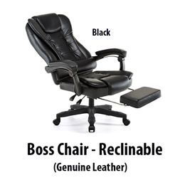 Recline Boss Chair Genuine Leather Executive Office Home Novelty High Designer Black