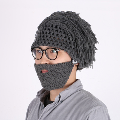 5cc6e4fc392 Funny Men Women Fashion Party Adults Mask Knitted Wig Beard Hat Solid  Winter Caps