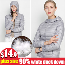 【Plus Size up to 110kg】Winter Women Ultra Light Down Jacket 90% Duck Down Hooded Jackets Long Sleeve Warm Slim Coat Parka