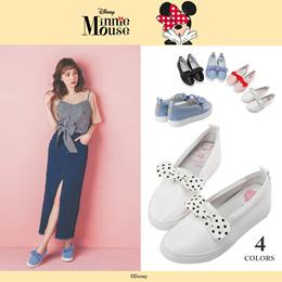 Gracegift-Disney Minnie Polka Dot Bow Tie Slip-Ons/Women/Ladies/Girls Shoes/