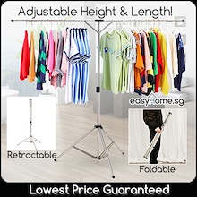 LOWEST Price! Retractable Laundry Rack / Free Hanger Hooks / Foldable Adjustable Height Length