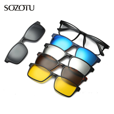 072a44e7e75 Fashion Glasses Frame Men Women With 5 Sunglasses Clip On Magnetic Eyeglasses  Polarized For Male Mul