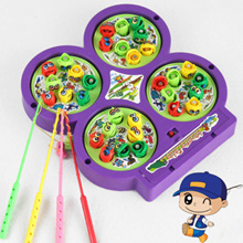 Enduring New Kid Puzzle IQ Brain Fishing Rod Toy Electric Magnet Fish Pond Game