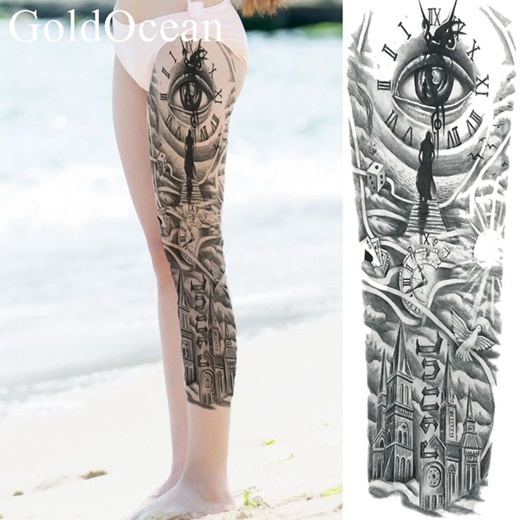 Qoo10 Black Church Waterproof Tattoo Sticker Women Full Leg Body Art Drawing Women S Clothing