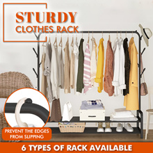 Sturdy Clothes Rack Bedroom Wardrobe Balcony Hanger Coat Shoe Hat Rack Portable Movable