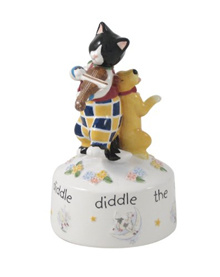 Belleek UNIV25041 Cat and the Fiddle Musical Box 6.3-Inch Multicolor