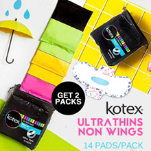 2 Pack Kotex Ultrathins Non Wings 14s