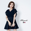 MAYUKI - Flutter Sleeve Dress with Cut-out Back-6019243-Winter