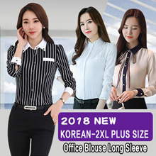 【NEW Fashion House】  Woman Branded Office Blouse Long Sleeve Material Cotton! Limited Ready Stock