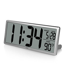 "ICKER iCKER 13.8"" Jumbo LCD Display Alarm Clock with Oversize Digits, Large Digital Wall Clock Displ"