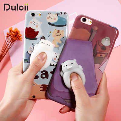 purchase cheap 799b8 ef3de iPhone 6 6S 6 plus 3D Cute Soft Silicone Squishy Cat Phone Case iPhone 7 7  plus Cover Animal