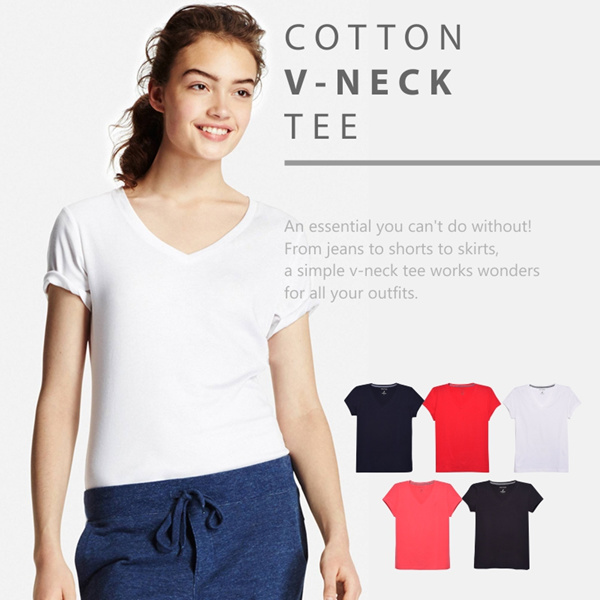 Collection Branded Cotton V Neck T-Shitrs/Woman T-Shirts/Branded T-Shirts Deals for only Rp60.000 instead of Rp60.000