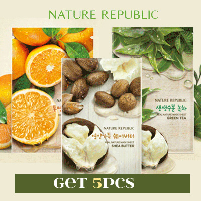 [ GET 5 PCS ] - NATURE REPUBLIC REAL NATURE MASK SHEET Deals for only Rp49.000 instead of Rp119.512