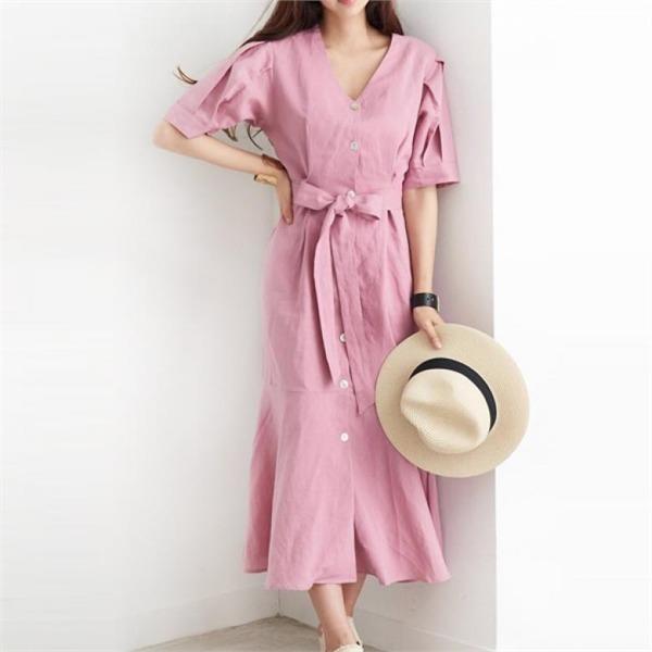リエンタリンネンパフ小売ロングワンピースops740new ロング/マキシワンピース/ワンピース/韓国ファッション