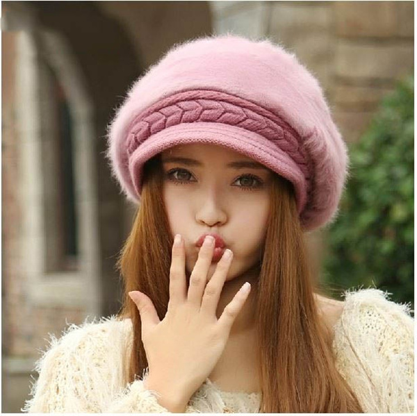 New Women Hat Winter Beanies Knitted Hats For Woman Rabbit Fur Cap Autumn And Winter Ladies Fashion Skullies Deals for only S$42.99 instead of S$0