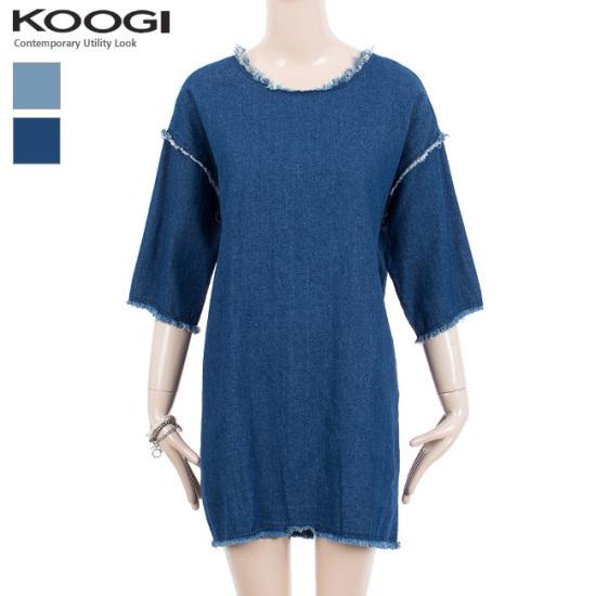 釘宮ビンテージデニムワンピースKK3OP310A 綿ワンピース/ 韓国ファッション