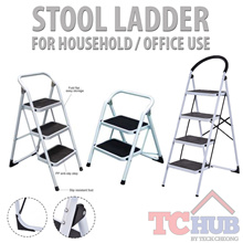 Stool Step Foldable Ladder (2-4 Steps)! Fitted with Anti-Slip Pad Steps! Good for Home / Office!