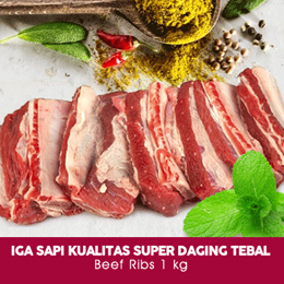 Iga Sapi Kualitas Super Daging Tebal / Beef Ribs 1 kg / 1kg