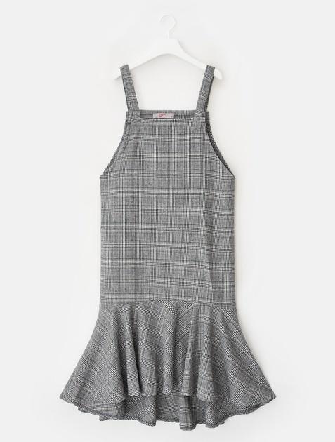 8SECONDS Glen Check Ruffle Pinafore Dress - Ash