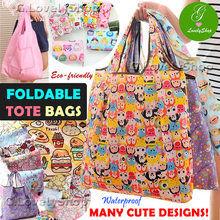 NEW DESIGNS! Super Cute Characters Foldable Shopping Tote Bag Sling Bag ♥ Waterproof Travel Bag