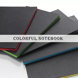 Colorful notebook/red yellow blue green black color notebook/colorful pages/A5 Size notebook/Black Cover notebook