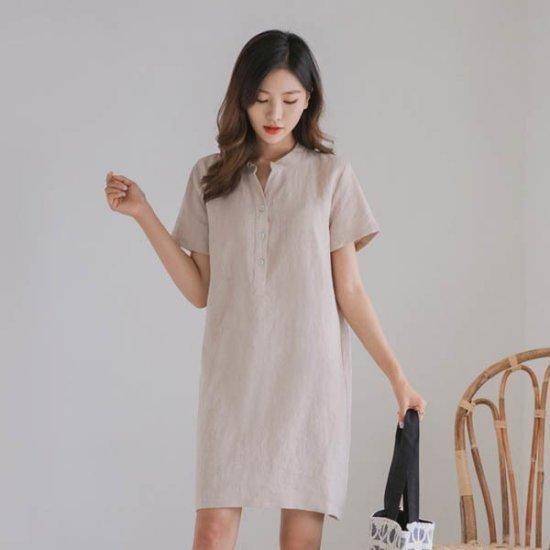 ジャストウォンリンネンバンオプンワンピース 綿ワンピース/ 韓国ファッション
