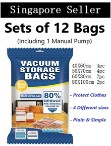 Thick vacuum bag / Pump compression / Storage Sorting /Clothes packing / Space bag (Set-of 12 bags)