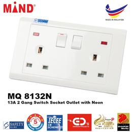 Mind 13A 2 Gang Switched Socket Outlet with Neon - MQ 8132N13A 2 명 네온으로 소켓 콘센트를 전환 마음 - MQ 8132N을