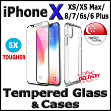 [SG] ✱5X TOUGH✱ Tempered Glass Screen Protector / Case for iPhone XS● XS Max● X● 8● 7● 6s● 6 Plus