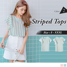 OB DESIGN ★ OBDESIGN ★ ORANGEBEAR ★ RUFFLE SLEEVE STRIPED CHIFFON TOPS ★ 2 COLORS ★ S-XXXL SIZE ★