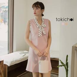 TOKICHOI - Polka Dot Tie Layered-look Dress-180884-Winter