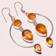 """awesome ! FACETED CITRINE QUARTZ 925 STERLING SILVER PLATED EARRING 2.5""""(E-974)[BKD0003678]"""