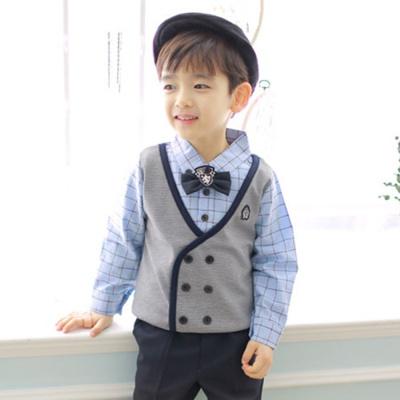 81e9c630ea34c AD check double tee blue / child infant boys suit southern tee children suit  southern,