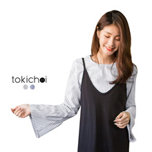 TOKICHOI - Striped Blouse with Frill Sleeves-180265