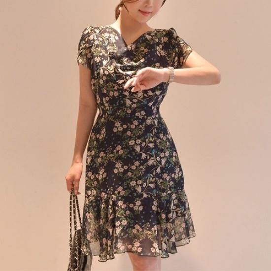 悪女日記】ドレンワンピース5577 シフォン/レースのワンピース/ 韓国ファッション