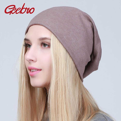 e4b9fedf1 shop Geebro Women s Plain Beanie Hat 2019 Spring Cotton Slouchy Beanie for  Women Knitted Bone Hat La