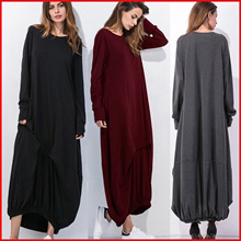 ❤PLUS SIZE❤Loose skirt plus size dress irregular long sleeved round collar casual T-shirt