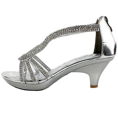 3e2c5f21a3e Delicacy Angel 36 Women Dress Sandals Rhinestone Platform Pumps Wedding  Bridal Low Heel Shoes,Silver