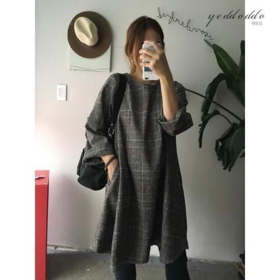 はいトト行き来するようにはいトト一チェイル毛織チェックワンピース プリントのワンピース/ 韓国ファッション